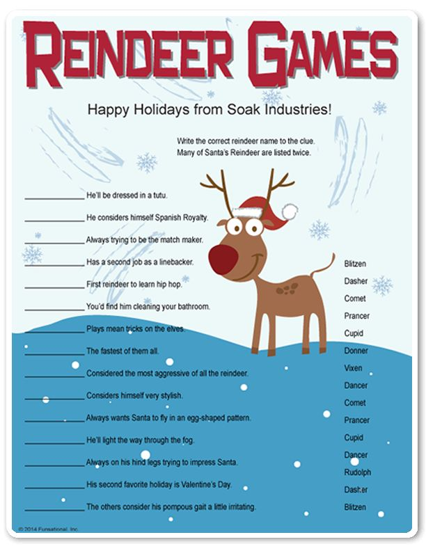 Printable Reindeer Games - they're like fun riddles...who WOULD you find cleaning the bathroom??