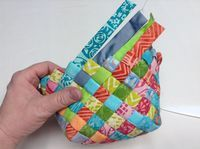 Woven Fabric Basket tutorial from Atkinson Designs - use jelly roll strips