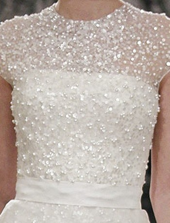 Bridal Gowns: Reem Acra A-Line Wedding Dress with High Neck Neckline and Waistline