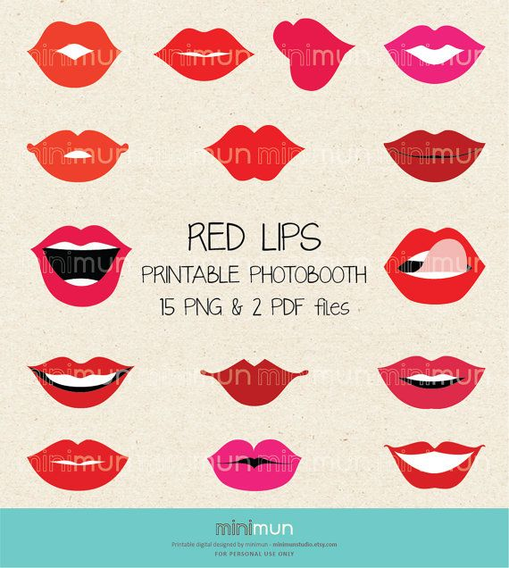 Große Bundle Red Lips Fotoautomaten. 15 druckbare digitale Bilder Foto Booth set mit Requisiten für Ihre Party fun:: KIT INCLUDES::    ♥ 15 rote
