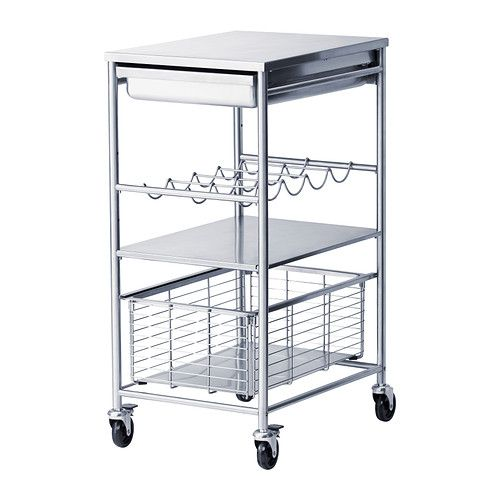 IKEA - GRUNDTAL, Kitchen trolley, Gives you extra storage, utility and work space.1 fixed shelf in stainless steel, a hygienic, strong and durable material that's easy to keep clean.