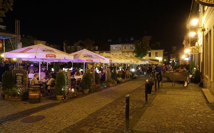Summer nights in the Old Town Square in Bielsko-Biala, Poland