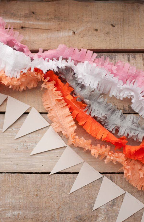 #DIY Fringe Layered Garland from @Victoria Brown Brown Brown Brown Brown Brown Hudgins | A Subtle Revelry, the perfect finishing touch to any party. Super simple and quick to make and oh-so-precious once complete! /ES