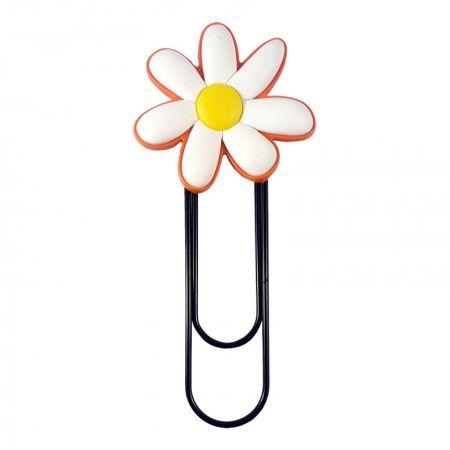 Marcador de página e clipe de papel - Flor