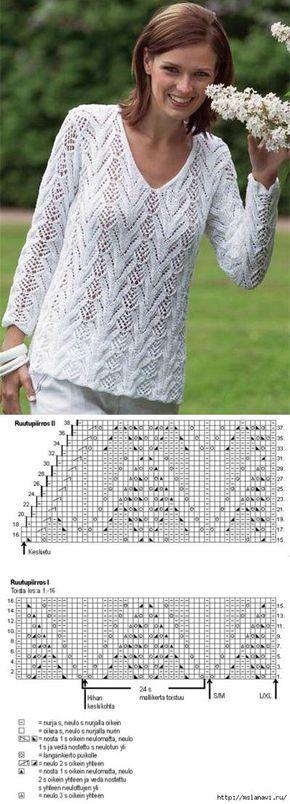 Белый ажурный пуловер.   Вязание   Постила