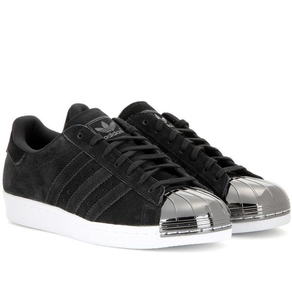 Adidas Superstar 80s Metal Toe Sneakers ($150) ❤ liked on Polyvore featuring shoes, sneakers, black, kohl shoes, 80s shoes, black shoes, 80s footwear and adidas trainers
