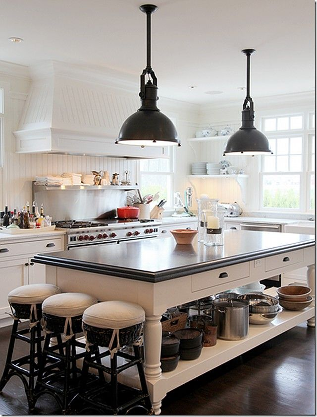 Modern Country Style: Modern Country House Tour In White, Black And Brown.  Click Through For Details.love The Lights And The Island