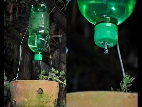 Como fazer um sistema de irrigação por gotejamento Garrafas Pet - YouTube