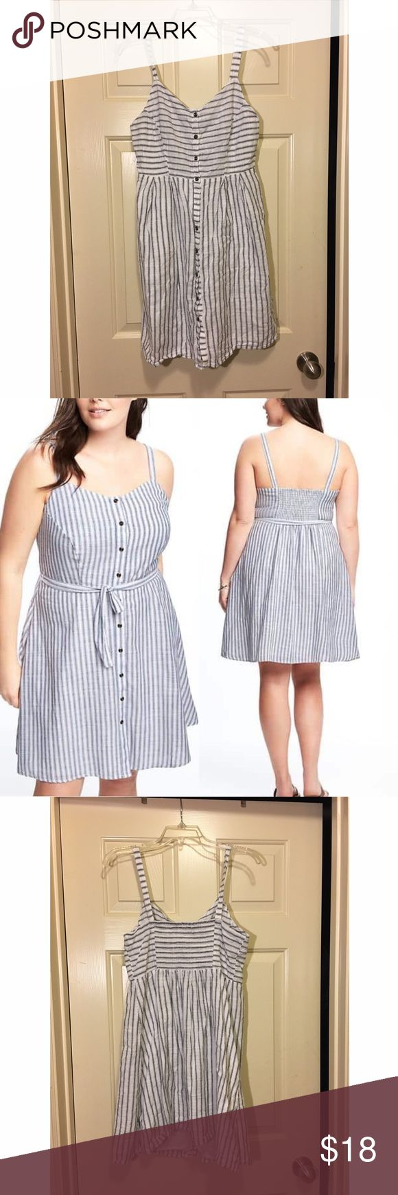 "Nautical striped button down dress ***BUNDLE BUNDLE BUNDLE*** AND RECEIVE A DISCOUNT!!   Blue striped  Fit and flare  Tank top  Sweetheart neckline Smocked, elasticized back Full-length button Soft, medium-weight slub-knit cotton with full lining 35"" shoulder to hem    No rips, stains, snags,  in great shape!!   ***MAKE AN OFFER*** Dresses Midi"