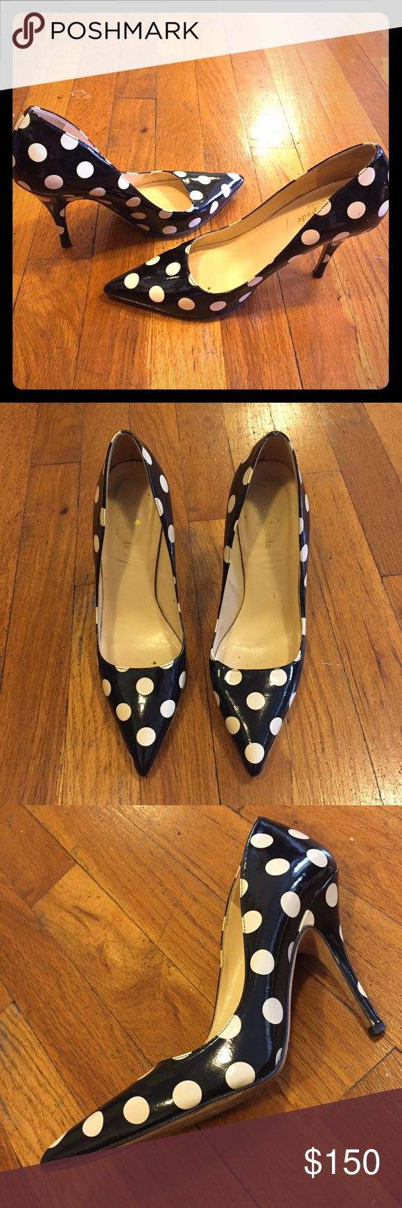 Kate Spade Licorice Polka Dot Pointed Toe Pumps Elegant and sleek pointed toe high heels with pops of playful polka dots! 4 inch heels. Make an offer! kate spade Shoes Heels