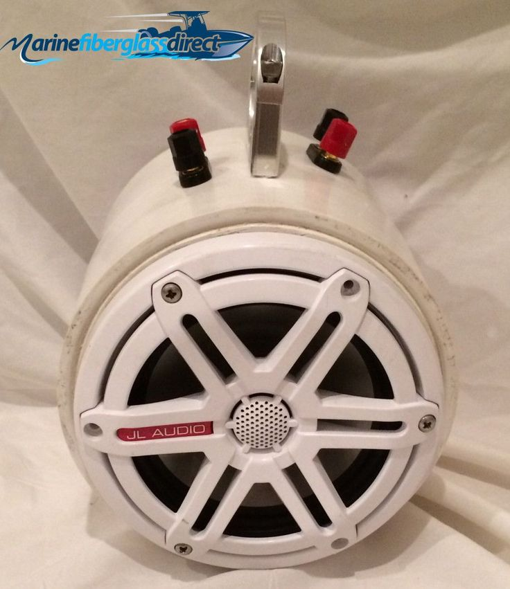"""Tower Speaker Can (dual openings), Two JL Audio 6.5"""" M650 Speakers (sport grille) w/ 1.5"""" Aluminum Bolt Clamp Bracket"""