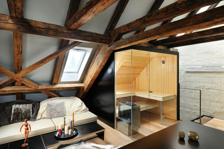 Old beams and clean lines of a Kung Swiss Sauna www.bsw-web.de #Sauna kaufen