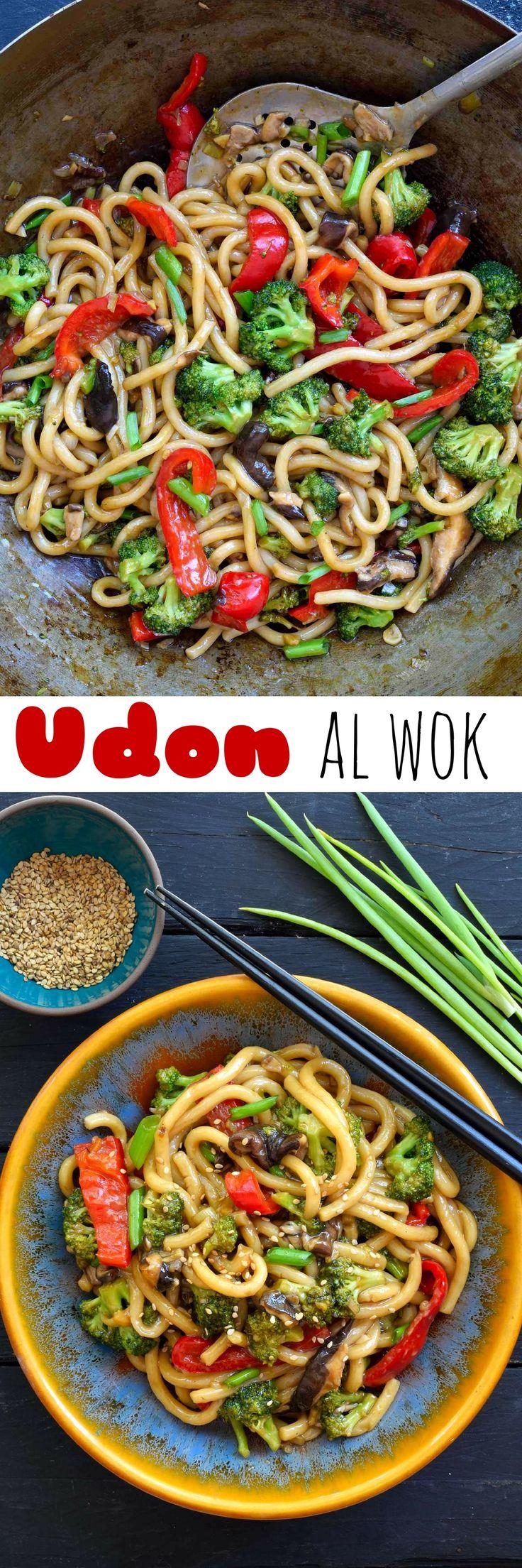 Fideos udon con verduras al wok es un plato vegano/vegetariano muy fácil y listo en tan sólo 15 minutos. Perfecto para una cena de entresemana.