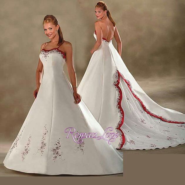 Beautiful Red And White Wedding Dress: Classic Wedding Dress A-line Red White Satin Spaghetti