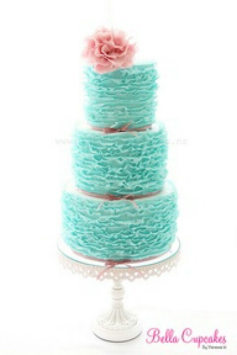 Pink & blue shabby chic wedding cake