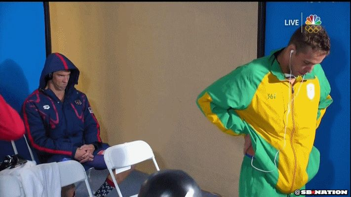 Here's why Michael Phelps was staring daggers at Chad le Clos