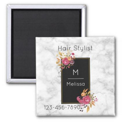 Pink Floral Corner Bouquet on Black Frame Business Magnet - monogram gifts unique design style monogrammed diy cyo customize