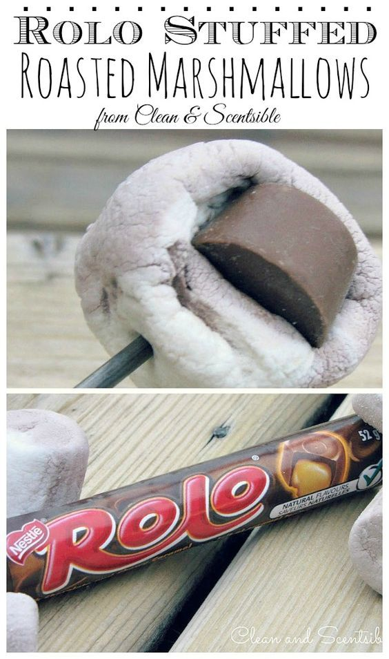 Rolo stuffed roasted marshmallows - SO good!!!