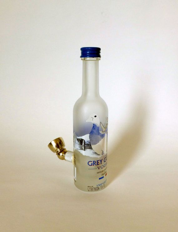 Grey goose tobacco smoking pipe portable glass pipe for Glasses made out of bottles