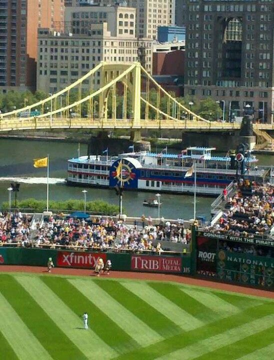 PNC Park, home of the Pittsburgh Pirates, with a view of the Allegheny River and Roberto Clemente Bridge