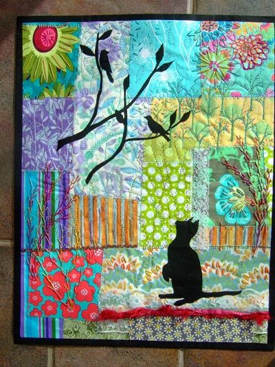 Cat Quilt- Wendy has added masses of hand and machine stitching to both blend and add even more interest to this piece. I think it looks just fantastic – thank you so much for sending it Wendy.