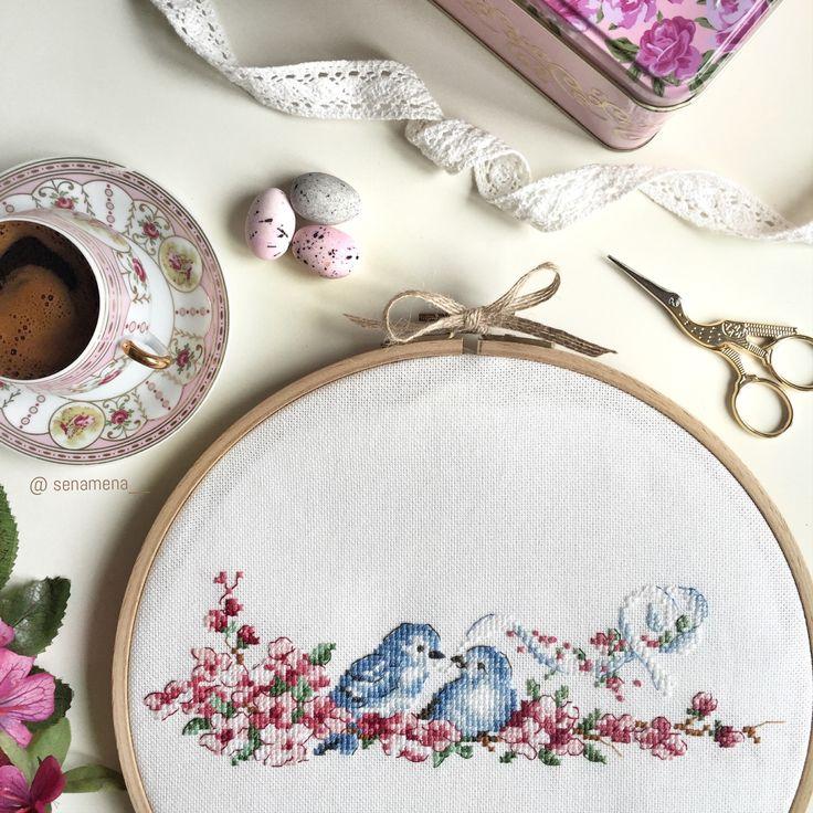 Cross stitch birds, point de croix oiseaux, kanaviçe kuş, senamena__