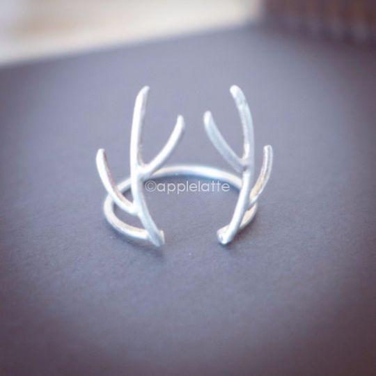 antler ring in sterling silver 925