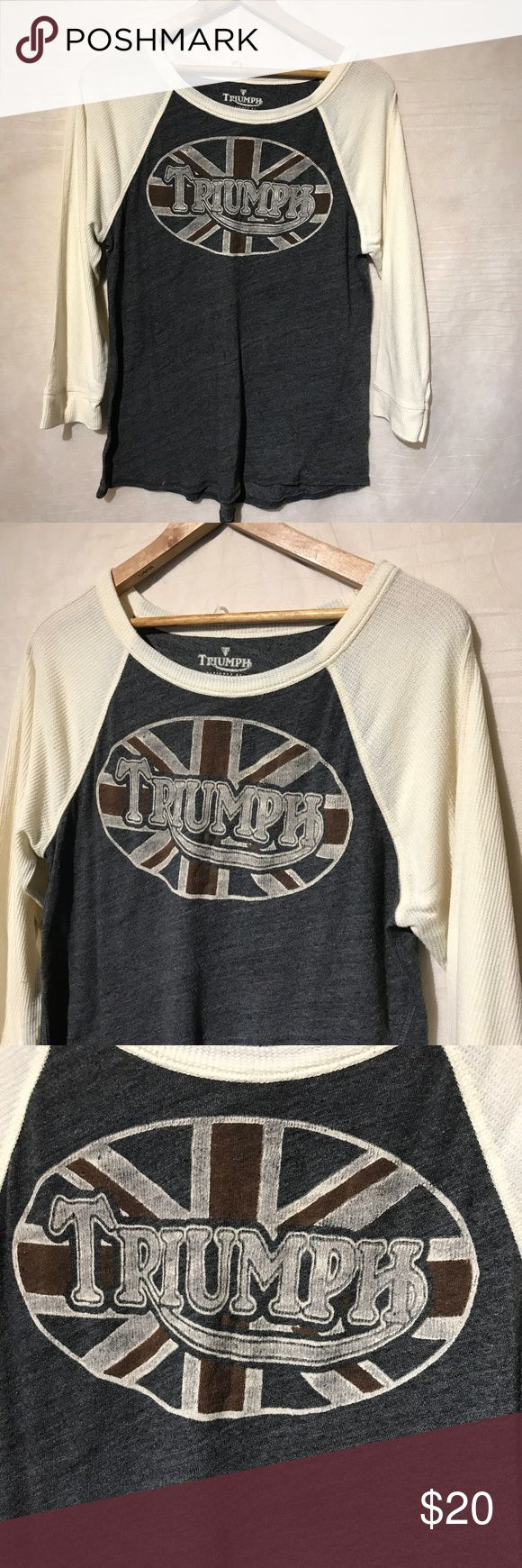 """Triumph Lucky Brand XL Thermal Shirt Women A2471 Triumph Lucky Brand XL Thermal Long Sleeve Gray Cream Shirt Women A2471, pit to pit - 19"""", shoulder to hem - 25"""", gently used with no holes or rips, 1 day handling, smoke free facility, thank you Triumph Tops Tees - Long Sleeve"""