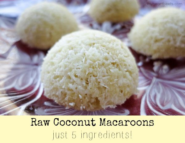 Raw Coconut Macaroon - just 5 ingredients!! myheartbeets.com