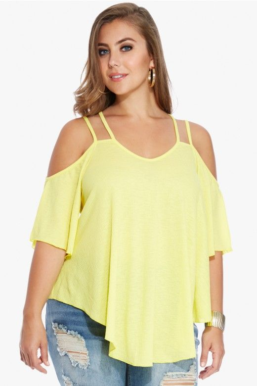 Plus Size Perreo Cold Shoulder Top | Fashion To Figure
