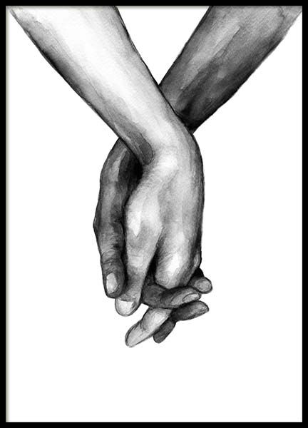 Watercolor Hands No1 Poster in der Gruppe Poster /…