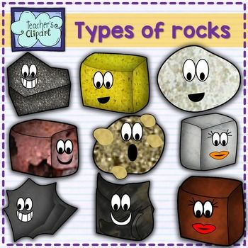 13 Cute rocks clipart for teaching science. Includes the tags for each type (Igneous, Metamorphics and Sedimentary) Includes: quartzite,granite, rhyolite, sandstone, marble, dolomite, schist, diorite, pumice, slate, shale, andesite, conglomerate . BE AWARE!!
