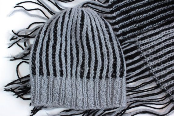 Grey knitted scarf and hat-hand knitted scarf and hat-Knitted scarf and hat-50 shades of grey clothing-grey clothing-15cmx185cm