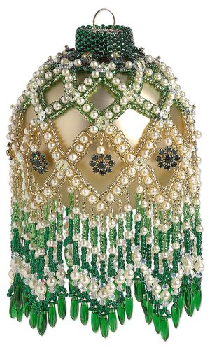 Ornament with SWAROVSKI ELEMENTS, Seed Beads and Czech Glass Beads by Susan Hacker.