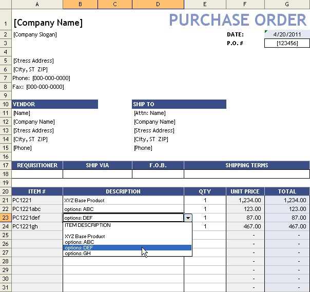 Purchase Order With Price List | Free Excel Templates | Pinterest