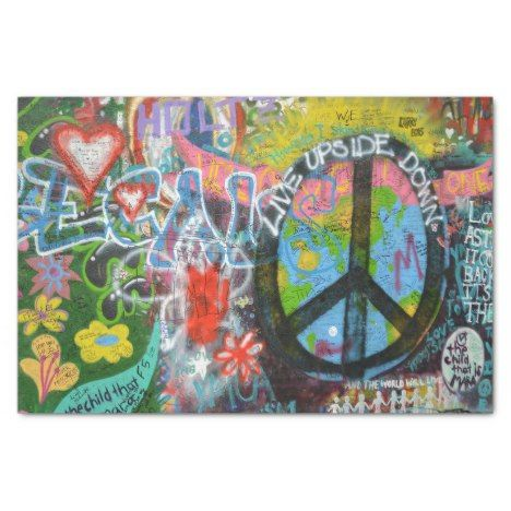 Live Upside Down Peace Sign Wall Tissue Paper