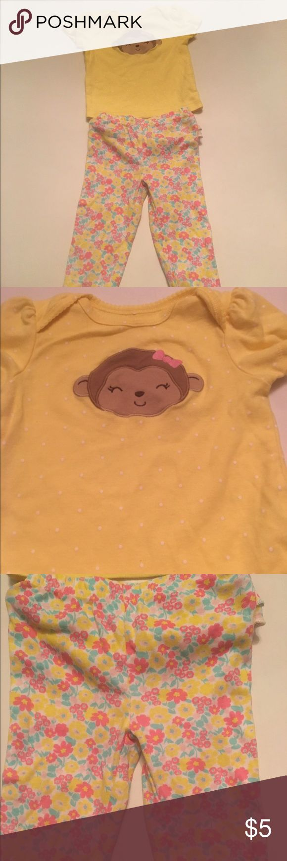 2pc monkey set Yellow short sleeve top with monkey and white polka dots. Matching floral print leggings with ruffles on back. Gently worn, good condition child of mine Matching Sets