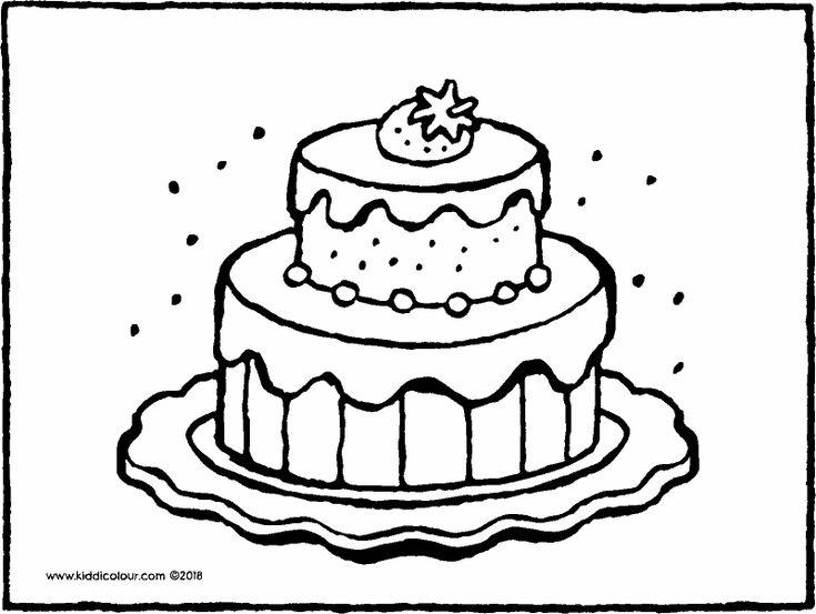 taart met aardbei kleurplaat kleurprent tekening 01k