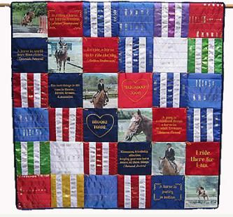 Memories quilt of horse show ribbons