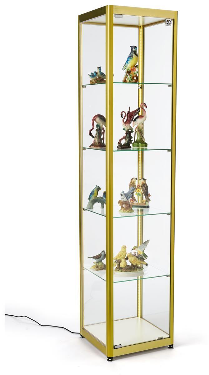 15 5 Glass Display Case Adjustable Shelves Locking Ships Unassembled Gold Glass Shelves Decor Floating Glass Shelves Glass Corner Shelves