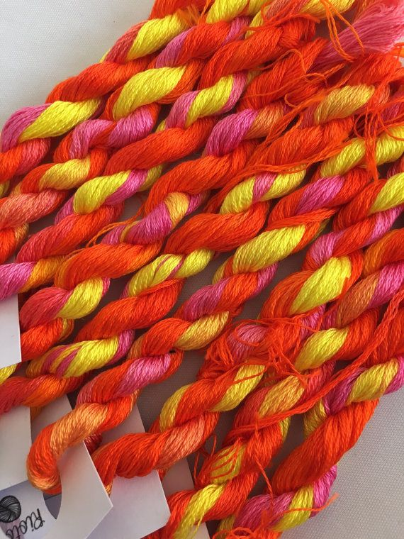 This is my hand dyed thread in the colourway Chloe on 9m DMC six stranded floss for cross stitch or embroidery, or other needlework. This is part