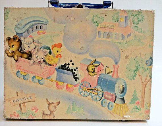 Children's Suitcase Mid century 1950's by VintageShelfAndWall