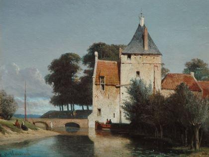 Johannes 'Jan' Weissenbruch (Den Haag 1822-1880) Gezicht op de Zandpoort te Culemborg, bij zomer -