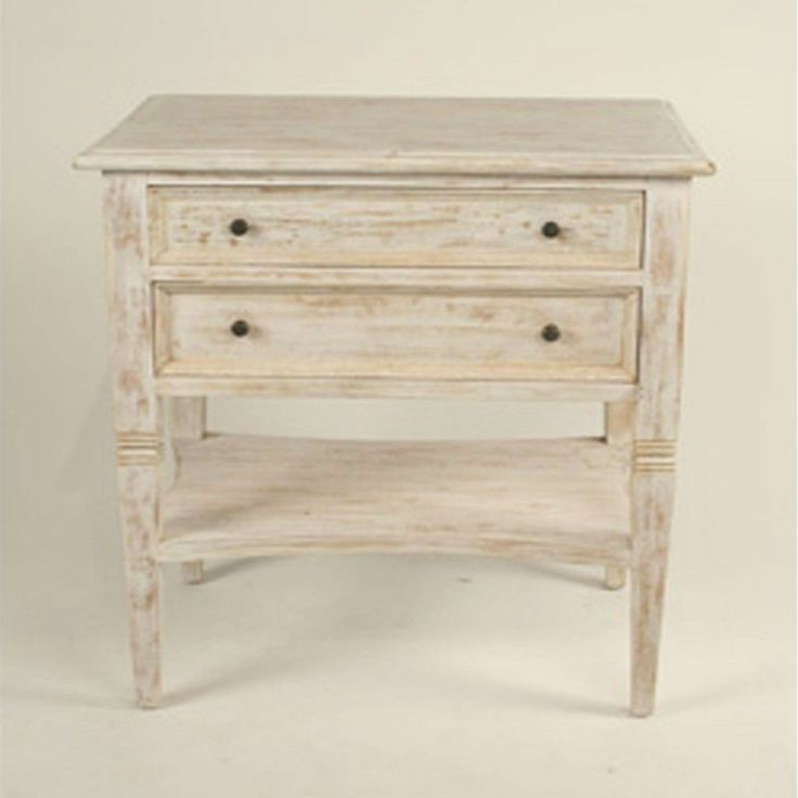 Oxford 2 Drawer Side Table, White Wash