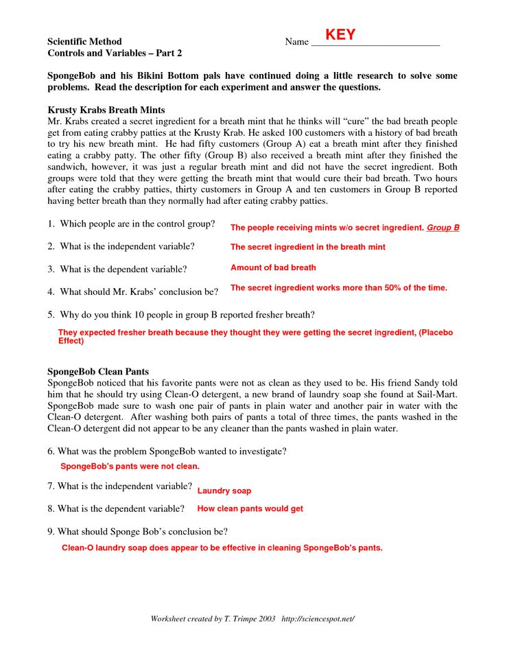 Printables Science And The Scientific Method Worksheet Answer Key scientific method keys and variables on pinterest