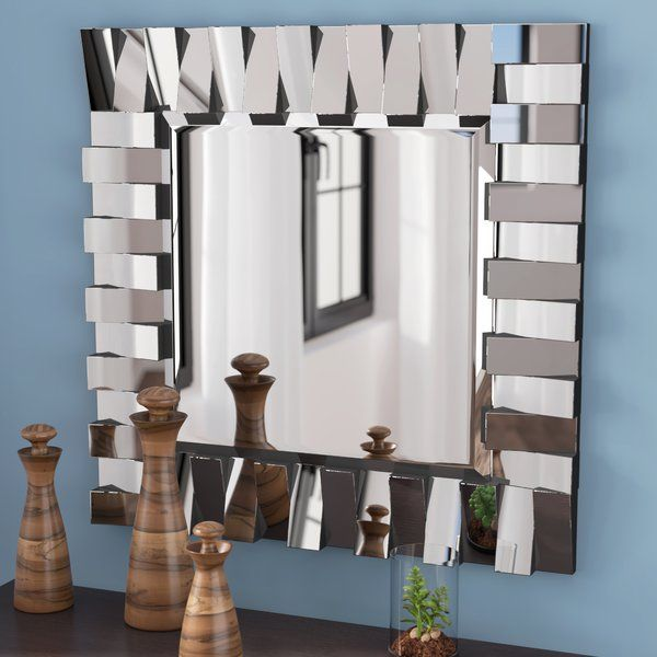 This Square Silver Mirror Uses Opposite Layered Panels To Create Dimension With Contemporary Flair Mirror Wall Mirror Design Wall Mirror Wall Decor