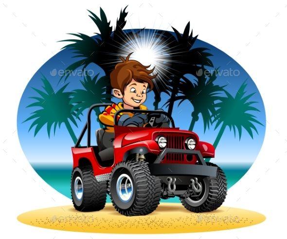 Vector Cartoon Boy Driving 4x4 Car On The Beach Cartoon Boy Train Illustration Cartoon