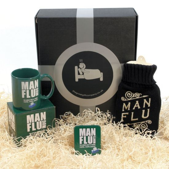 """The gift to give him when he's really, really, really poorly - with """"man flu""""!  It's not a cold. Really. It's flu. Really bad flu. Man Flu is a crippling and debilitating illness which indiscriminantly targets and strikes down male members of the human species. While Man Flu doesn't kill, it does leave the affected man in need of care, love, attention, understanding and endless sympathy."""