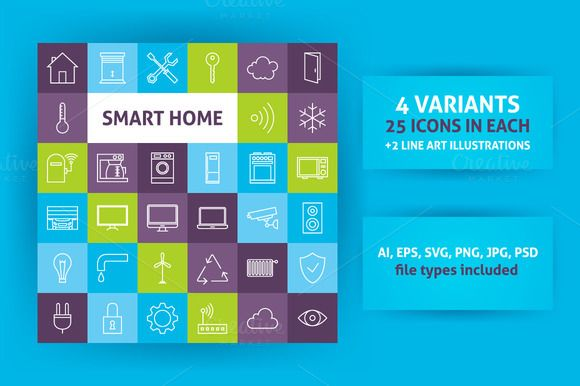 Smart Home Technology Line Art Icons by Anna_leni on Creative Market
