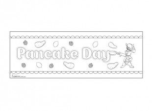 Print these two A4 pages, colour them in, stick them together. Your child has a lovely banner to celebrate Pancake Day!